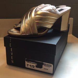 STEVEN Steve Madden Zara Gold Leather Mules, 7.5